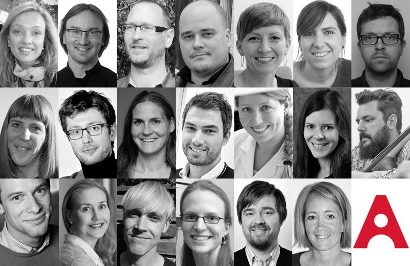Akademiet for yngre forskeres 20 første medlemmer. Utarbeidet av Eirik Furu Baardsen.