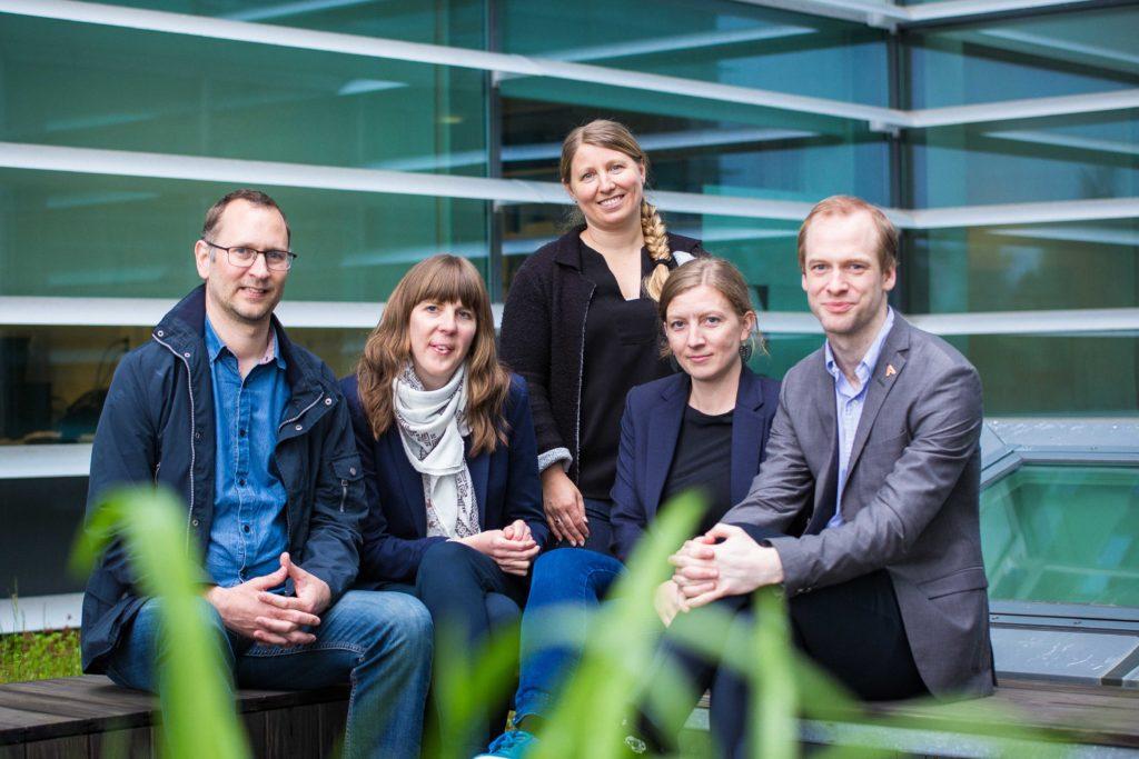 Styret i akademiet for yngre forskere. Fra venstre: Anders Schomacker, Ingeborg Palm Helland, Guro Lind, Katja Enberg og Jan Magnus Aronsen.