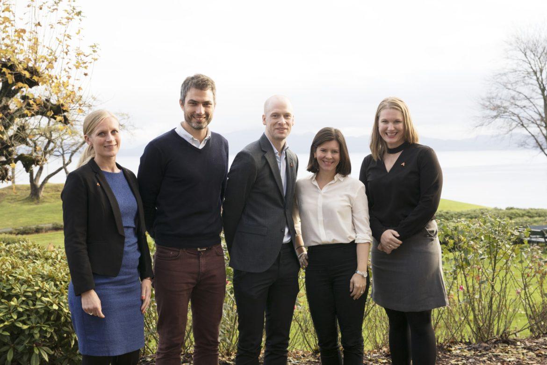 Styret i Akademiet for yngre forskere. Fra venstre: Guro Busterud, Kyrre Emblem, Magnus Aronsen, Katerini Storeng og Solfrid Bratland-Sanda.