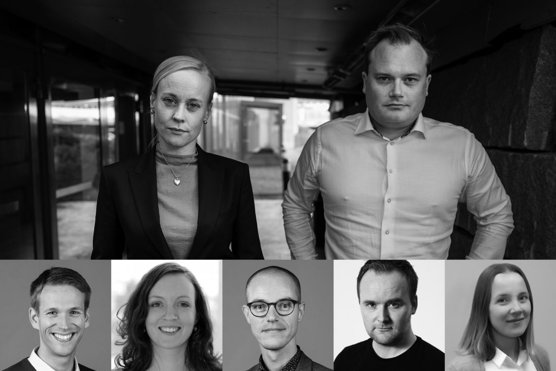 Ingrid Lossius Falkum, Jonas Stein, Nils Hallvard Korsvoll, Marte-Blikstad Balas, Åsmund Eikenes, Eirik Holmøyvik og Marianne Andenæs.
